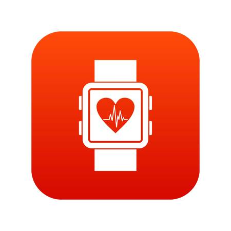 device: Smartwatch icon digital red for any design isolated on white vector illustration