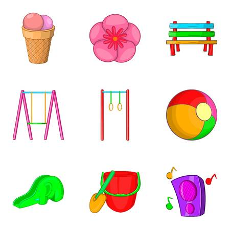 baby toy: Walking in children park icons set. Cartoon set of 9 walking in children park vector icons for web isolated on white background