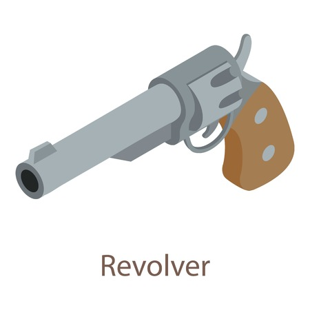criminal: Revolver icon. Isometric illustration of revolver icon for web