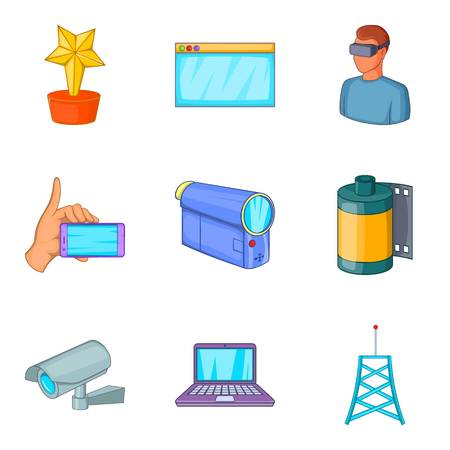 camera film: Fieldwork icons set. Cartoon set of 9 fieldwork vector icons for web isolated on white background Illustration