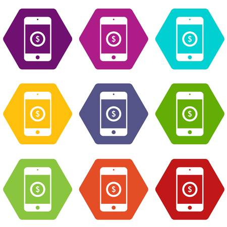 device: Smartphone with dollar sign on display icon set many color hexahedron isolated on white vector illustration
