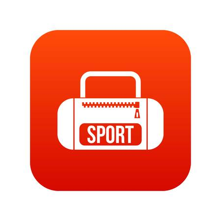 fitness equipment: Sports bag icon digital red for any design isolated on white vector illustration Illustration