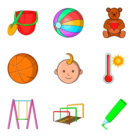 baby toy: Outdoor playground icons set. Cartoon set of 9 outdoor playground vector icons for web isolated on white background