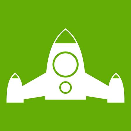 Rocket icon white isolated on green background. Vector illustration
