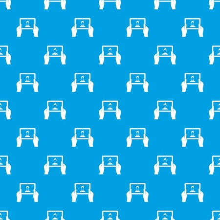 device: Hands holding tablet pattern repeat seamless in blue color for any design. Vector geometric illustration Illustration