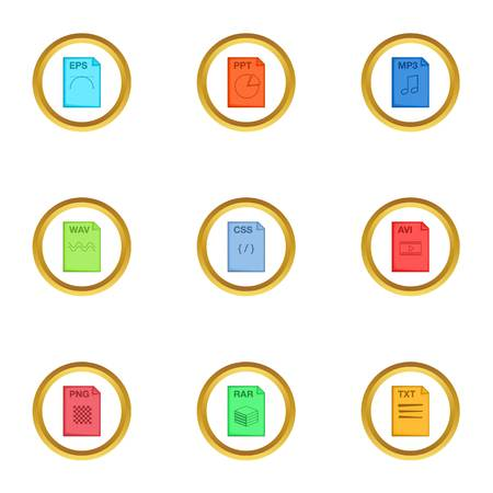 xls: Program file icons set. Cartoon style set of 9 program file vector icons for web design