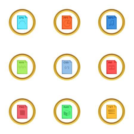 Program file icons set. Cartoon style set of 9 program file vector icons for web design