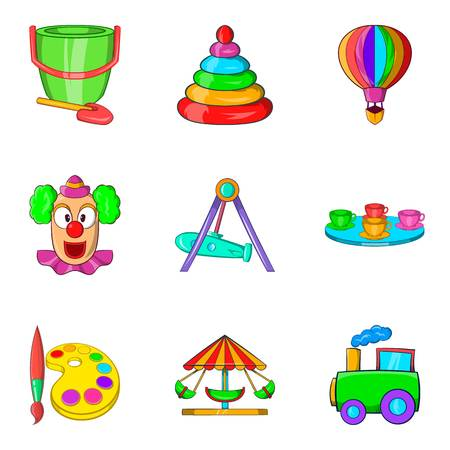 baby toy: Young viewer icons set. Cartoon set of 9 young viewer vector icons for web isolated on white background Illustration