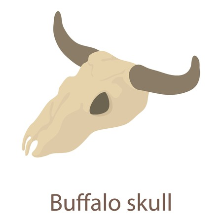 Buffalo skull icon. Isometric illustration of buffalo skull icon for web