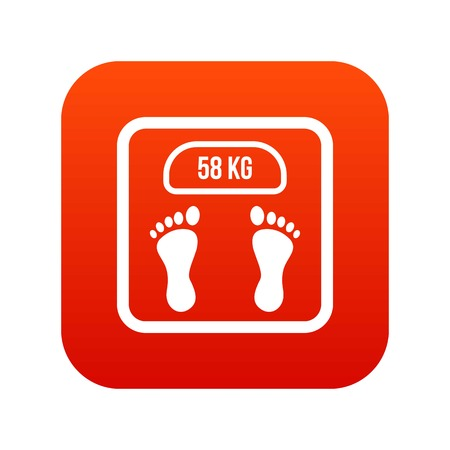 Weight scale icon digital red for any design isolated on white vector illustration Illustration