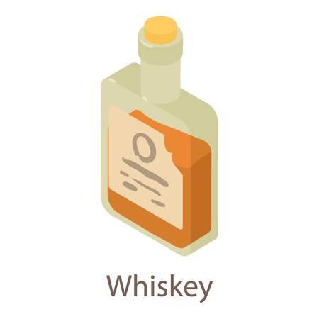 Whiskey icon. Isometric illustration of whiskey icon for web