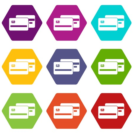 reflection: Credit card icon set many color hexahedron isolated on white vector illustration