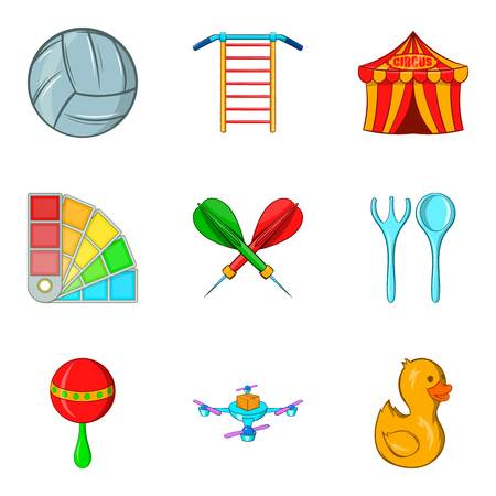 baby toy: Outdoor fun icons set. Cartoon set of 9 outdoor fun vector icons for web isolated on white background