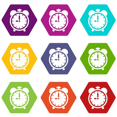 countdown: Alarm clock icon set many color hexahedron isolated on white vector illustration
