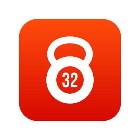 cast iron: Kettlebell 32 kg icon digital red for any design isolated on white vector illustration Illustration