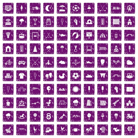 100 childrens playground icons set in grunge style purple color isolated on white background vector illustration