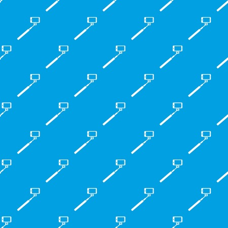 device: Selfie stick and smartphone pattern repeat seamless in blue color for any design. Vector geometric illustration Illustration