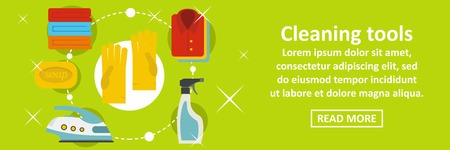 Cleaning home tools banner horizontal concept. Flat illustration of cleaning home tools banner horizontal vector concept for web design Illustration