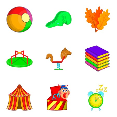 baby toy: Circus arena icons set. Cartoon set of 9 circus arena vector icons for web isolated on white background
