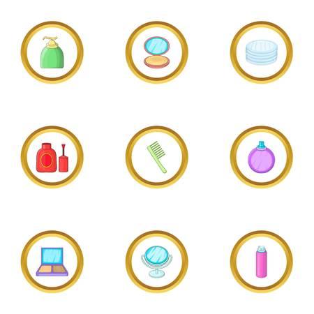 skin tones: Makeup icons set. cartoon style set of 9 makeup vector icons for web design