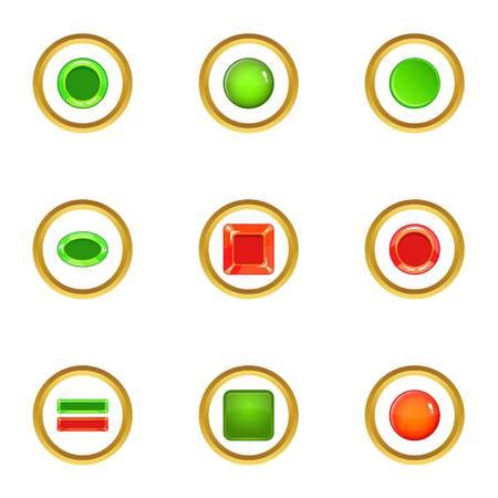 Switch element icons set, cartoon style