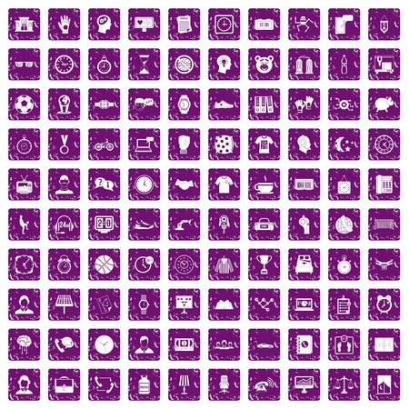 smartphone icon: 100 clock icons set grunge purple