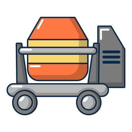 Concrete mixer icon, cartoon style
