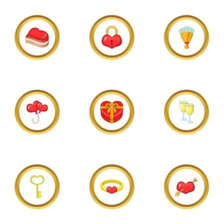 day: Gift icons set, cartoon style Illustration