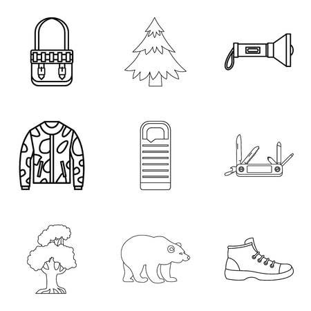 Mountain landscape icons set, outline style