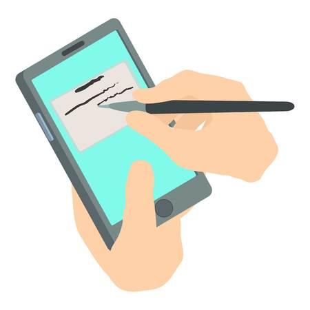 Write phone icon, isometric 3d style Illustration