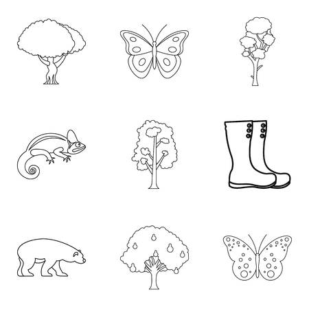 Healthy forest icons set, outline style Illustration