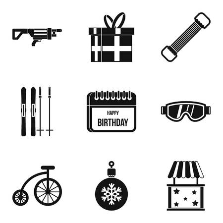 baby toy: Surprise for the birthday icons set. Simple set of 9 surprise for the birthday vector icons for web isolated on white background