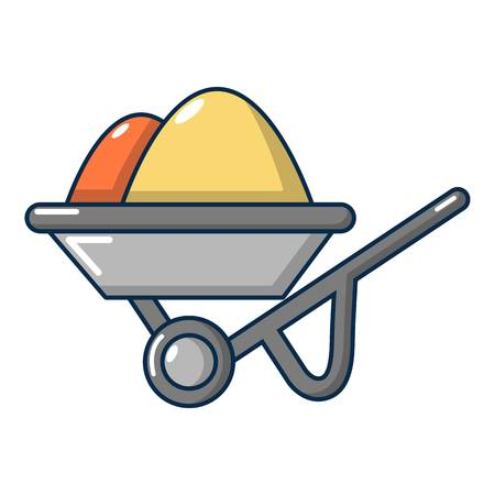 hauling: Wheelbarrow icon. Cartoon illustration of wheelbarrow vector icon for web