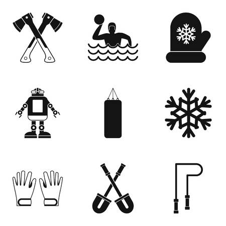 baby toy: Active family icons set. Simple set of 9 active family vector icons for web isolated on white background