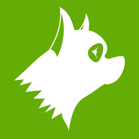 Pinscher dog icon white isolated on green background. Vector illustration