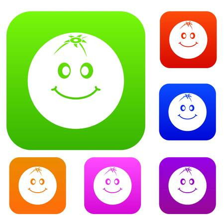 Smiling fruit set icon color in flat style isolated on white. Collection sings vector illustration