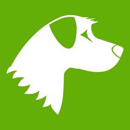 Dog icon white isolated on green background. Vector illustration Illustration