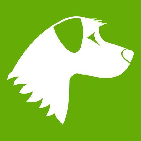 Dog icon white isolated on green background. Vector illustration Illustration
