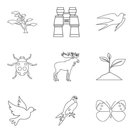 Forest beast icons set. Outline set of 9 forest beast vector icons for web isolated on white background Illustration