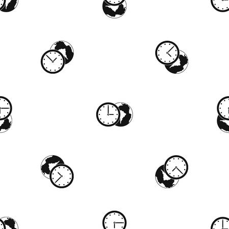 countdown: World planet with watch pattern repeat seamless in black color for any design. Vector geometric illustration Illustration