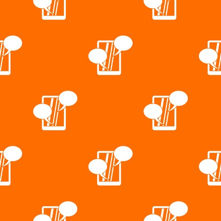 device: Speech bubble on phone pattern repeat seamless in orange color for any design. Vector geometric illustration Illustration