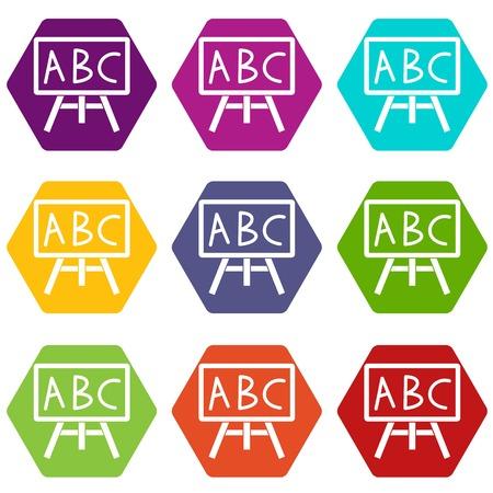Het bord met het letters ABC pictogram plaatst vele die kleurenhexahedron op witte vectorillustratie wordt geïsoleerd