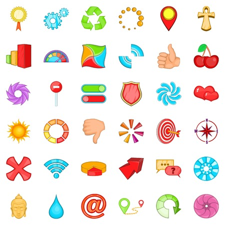 Computer graphic icons set. Cartoon style of 36 computer graphic vector icons for web isolated on white background