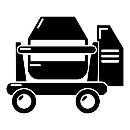 Concrete mixer icon, simple black style on a plain background.