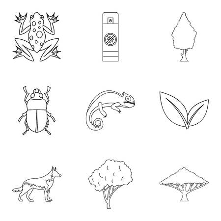 Parasite icons set, outline style on a plain background.