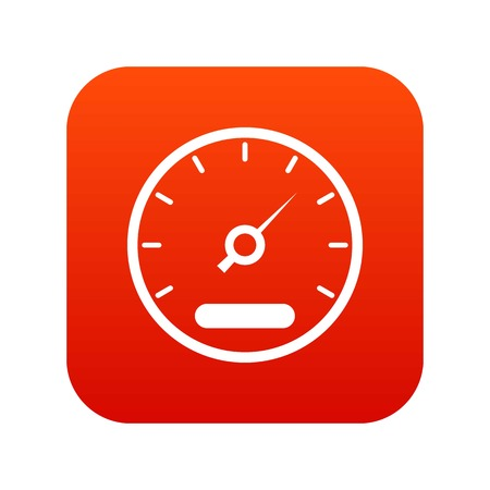 A Speedometer icon digital red on a plain background.