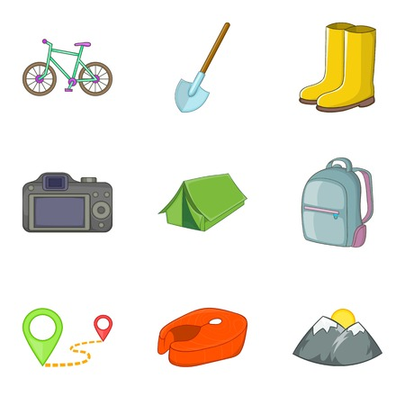 Climbing icons set, cartoon style Illustration