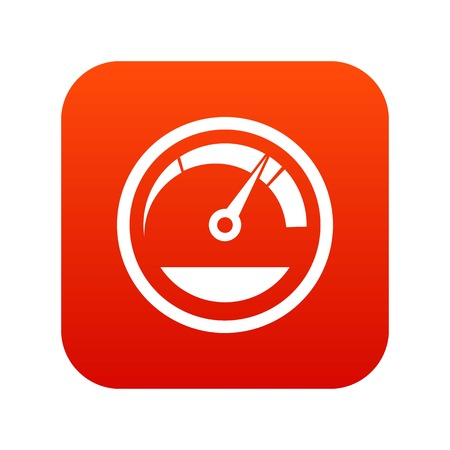 Speedometer icon digital red