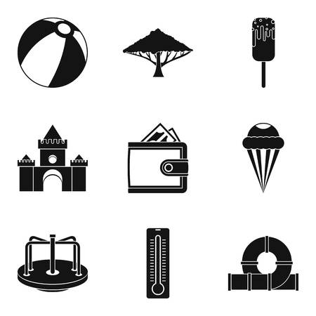 baby toy: Great amusement park icons set, simple style Illustration