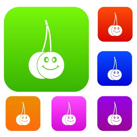 glace: Ripe smiling cherry set color collection